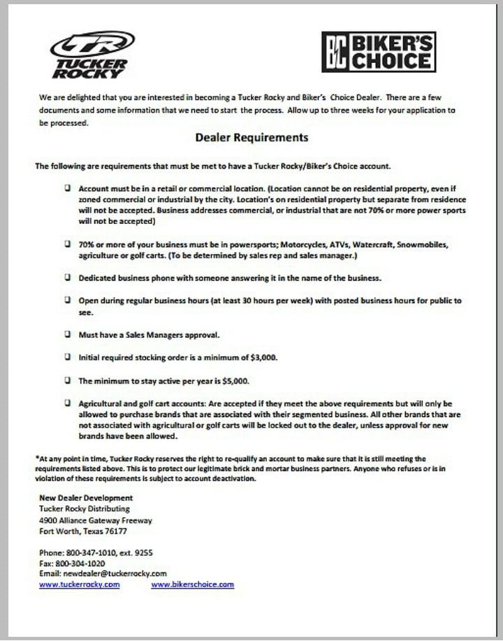 bike dealer application form template