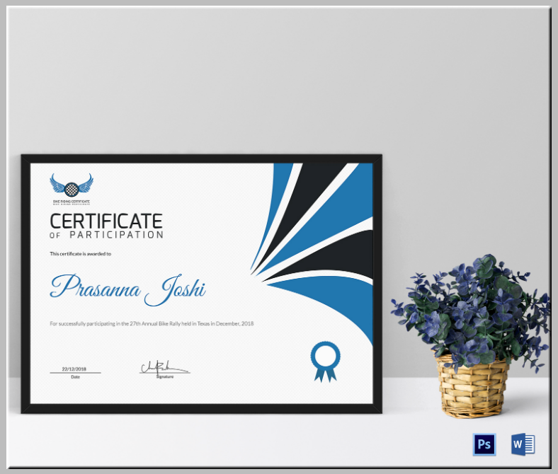 bike riding certificate of participation template 788x670