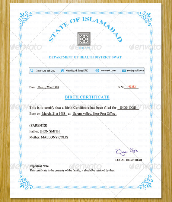 commemorative certificate template - 9 official birth certificate templates psd ai free