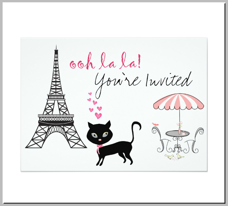 Black French Kitty Invitation Template