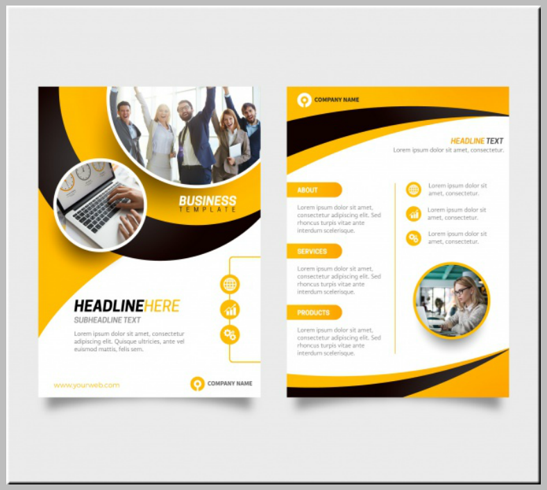 black yellow business flyer template 788x706