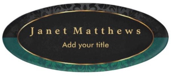 black-and-dark-green-damask-with-gold-trim-design-name-tag