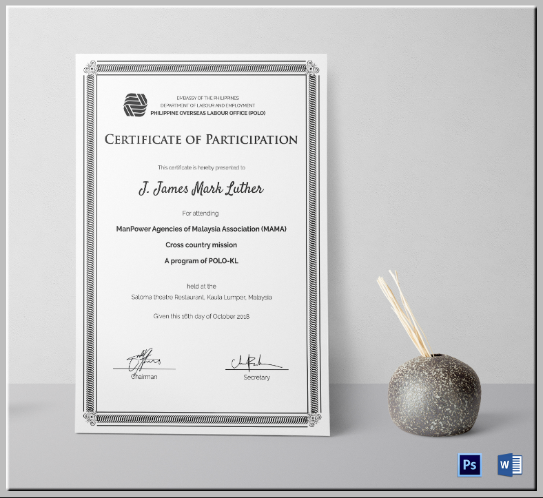 Black and White Event Participation Certificate Template