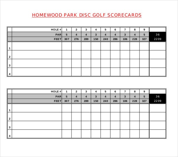 graphic regarding Disc Golf Scorecard Printable identify 10+ Golfing Scorecard Templates - PDF, Phrase, Excel Free of charge