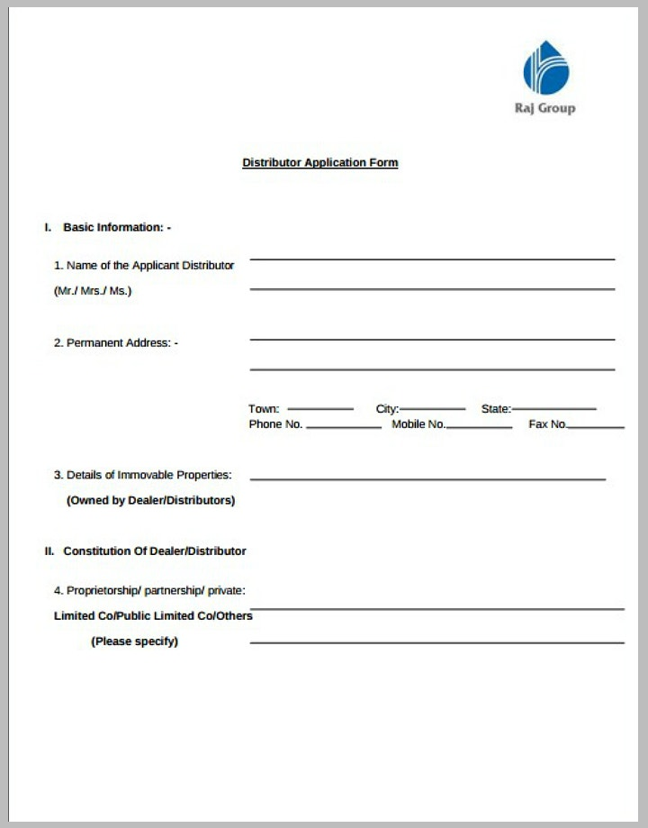 blank distributor application form template