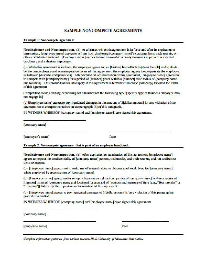 blank editable restaurant non compete agreement
