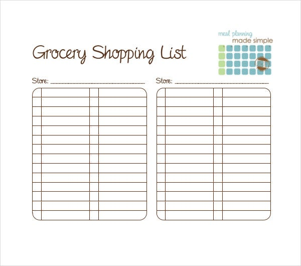 blank grocery shopping list template