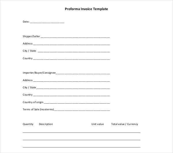 blank proforma invoice template