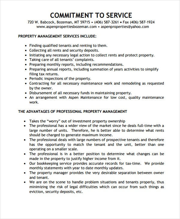 blank property management agreement