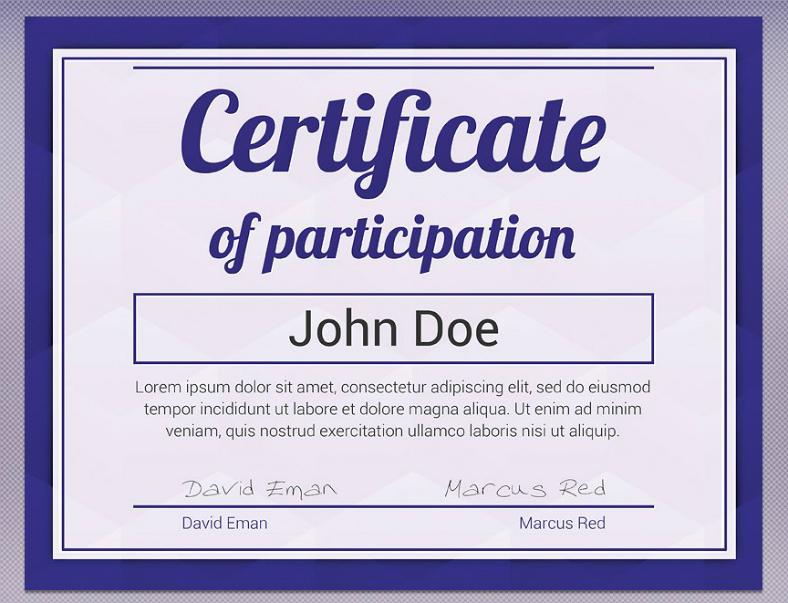 Blue Minimalist Participation Certificate Template