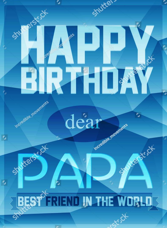 Blue Modern Papa Birthday Card Template