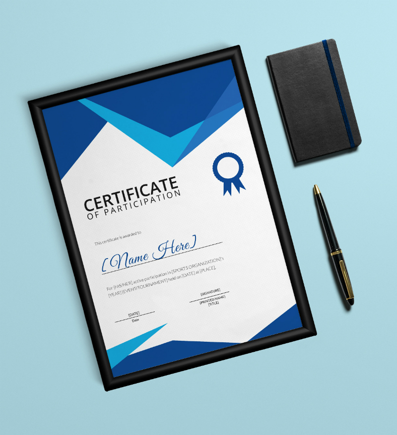 Blue Modern Sports Participation Certificate Template