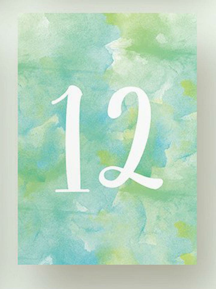 blue watercolor wedding table number card template set
