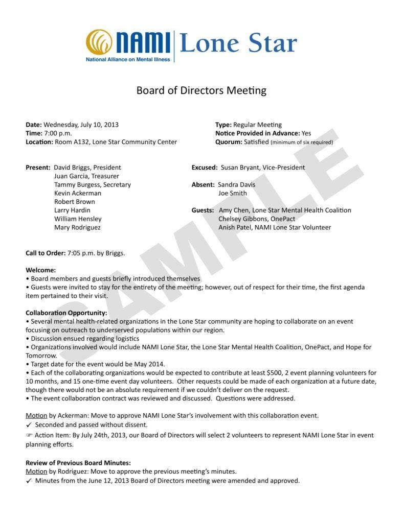 Board Meeting Minutes Sample