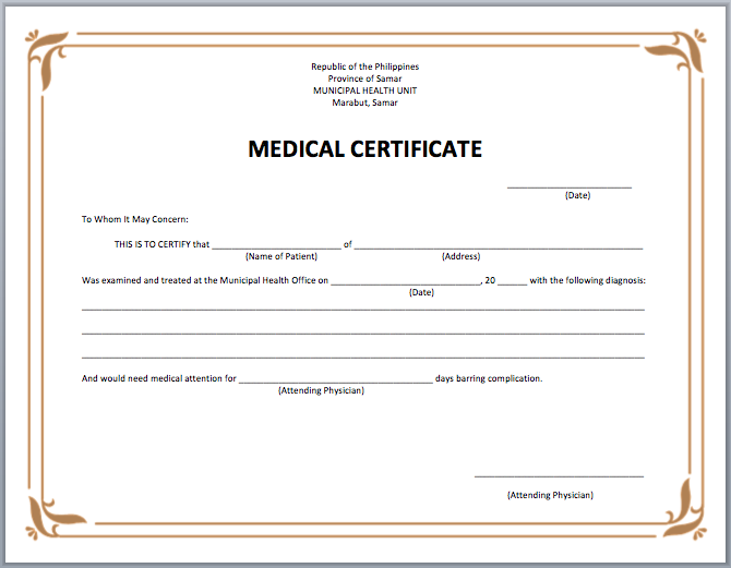 19  medical certificate templates for leave