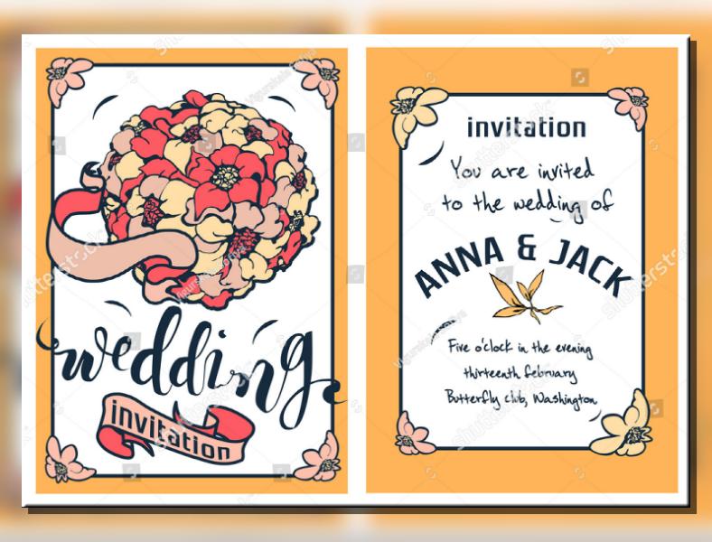 bouquet illustration wedding invitation format 788x600