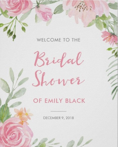 bridal shower pink floral welcome sign