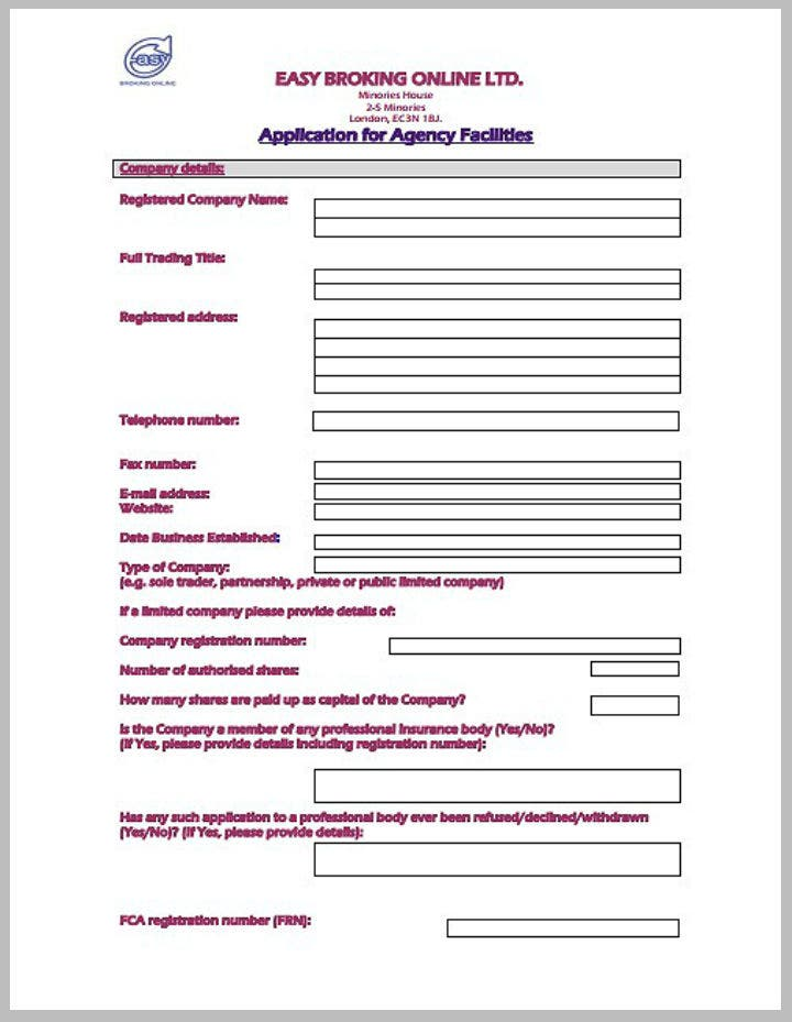broking-agency-application-form-template