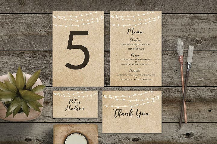 brown wedding table number card template suite