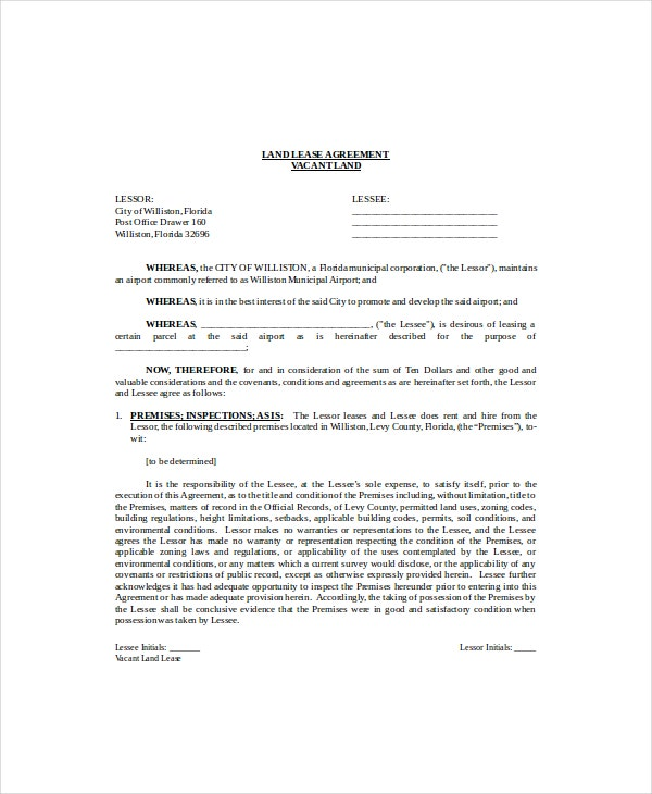building and land lease agreement