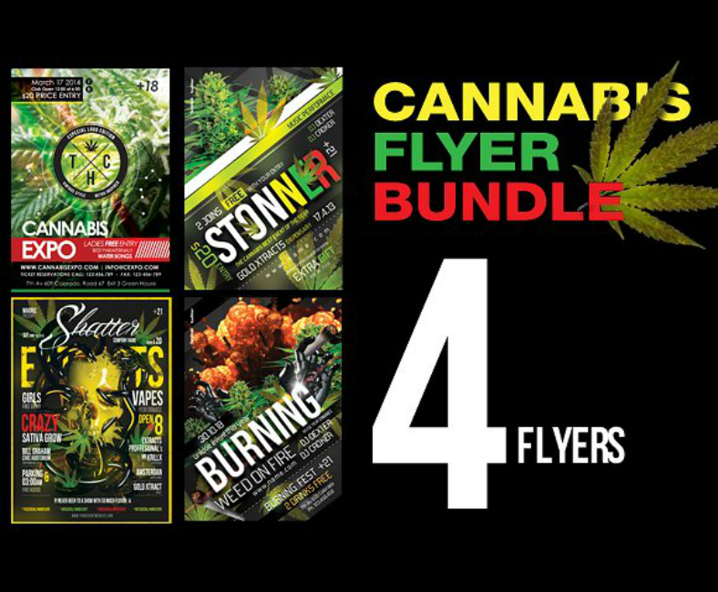 Bundled Artistic Cannabis Flyer Templates