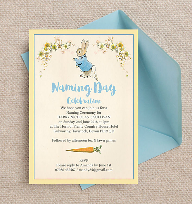 Bunny Rabbit Naming Ceremony Invitation Template