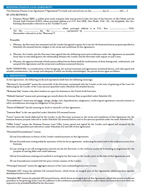 Business Loan Finance Agreement