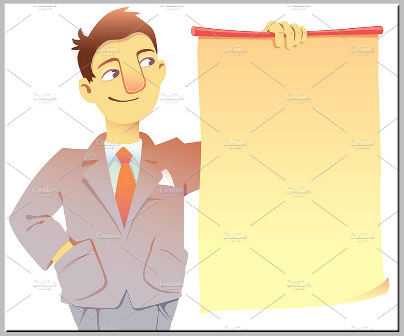 Businessman Holding Placard Template