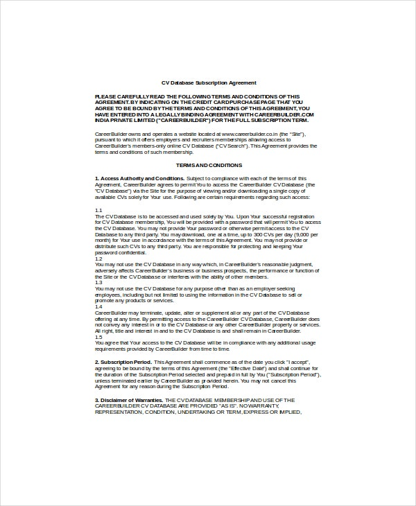 cv database subscription agreement