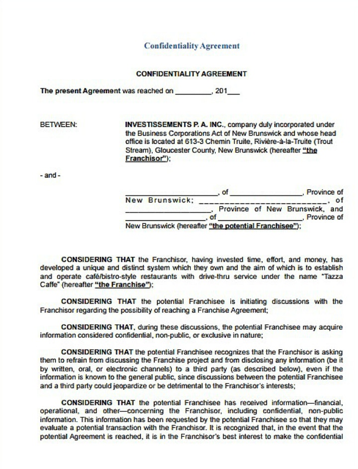 9 Restaurant Non Disclosure Agreement Templates Pdf Doc Free