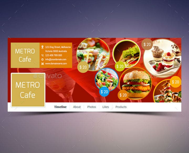 cafe restaurant timeline cover template