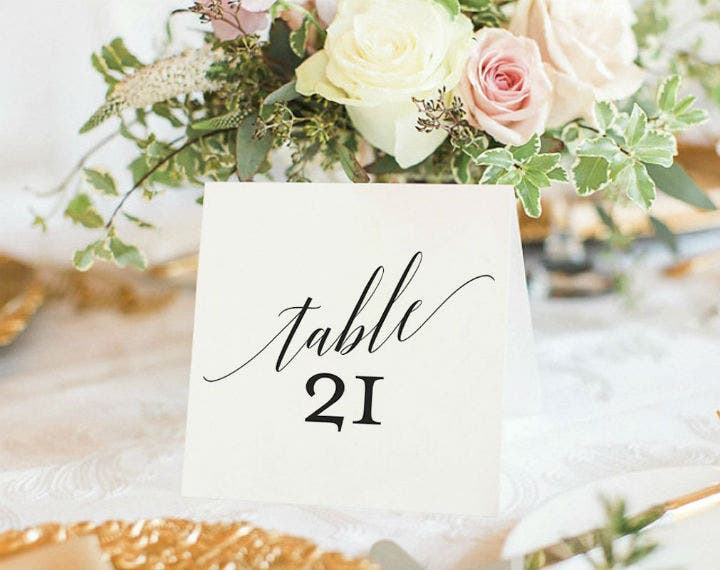 calligraphy wedding table number template