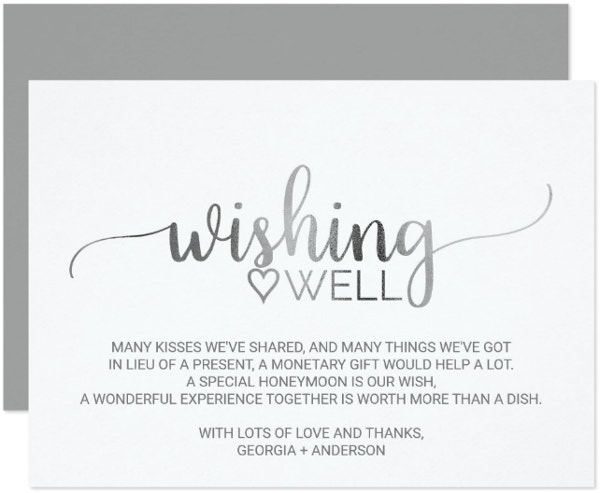 Calligraphy Wedding Wish Card Template
