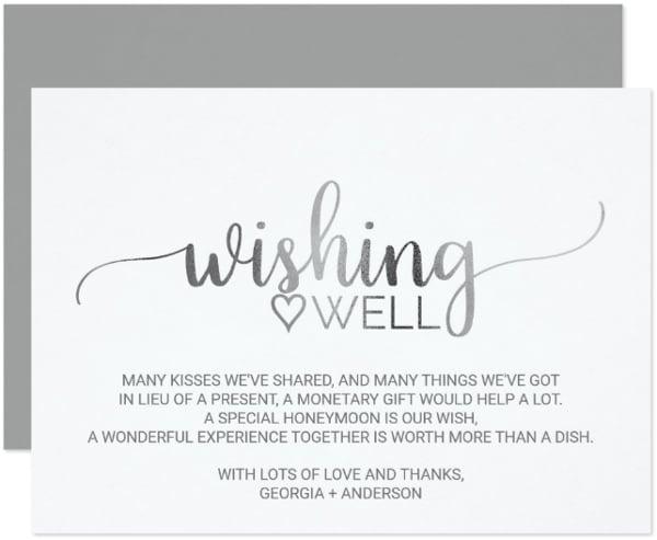 calligraphy wedding wish card