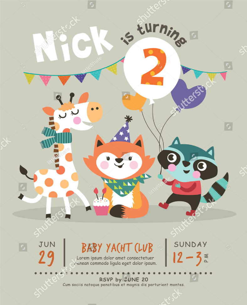 cartoon animals birthday invitation format 788x973
