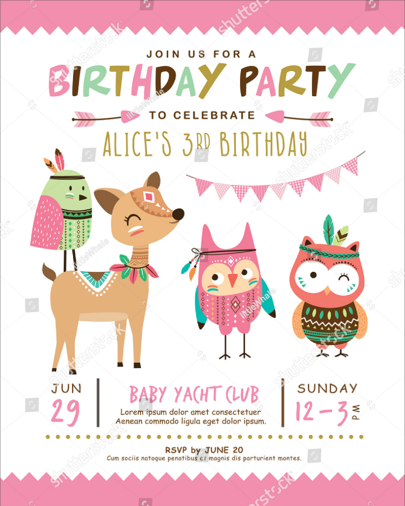 Cartoon Animals Kids Birthday Invitation