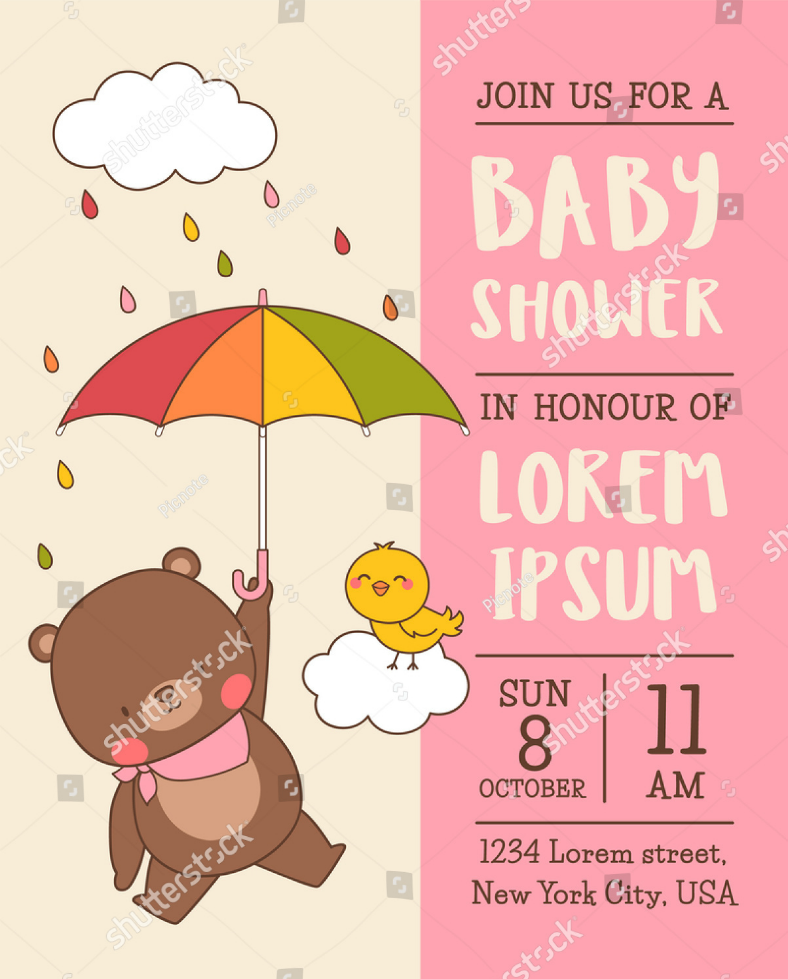 cartoon bear baby shower invitation 788x979