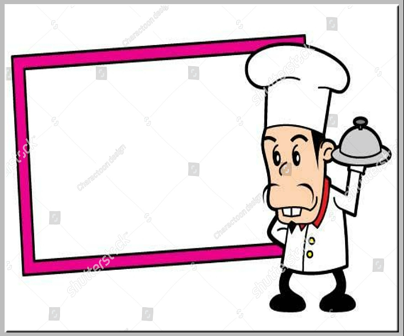 Cartoon Chef Blank Menu Board