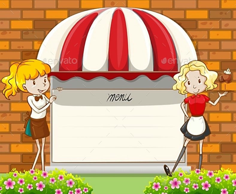Cartoon Girls Blank Menu Template