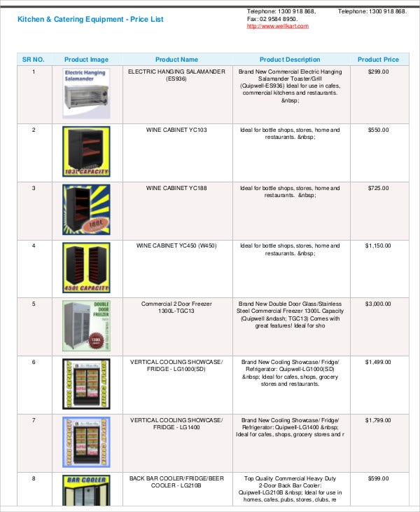 catering-equipment-cost-estimate-template