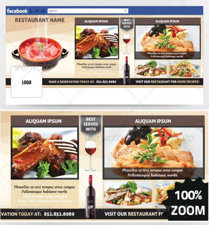 catering restaurant facebook timeline cover template