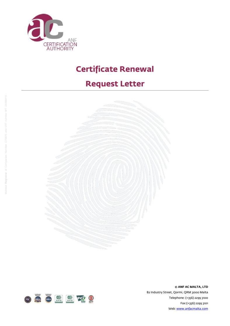 Certificate Renewal Request