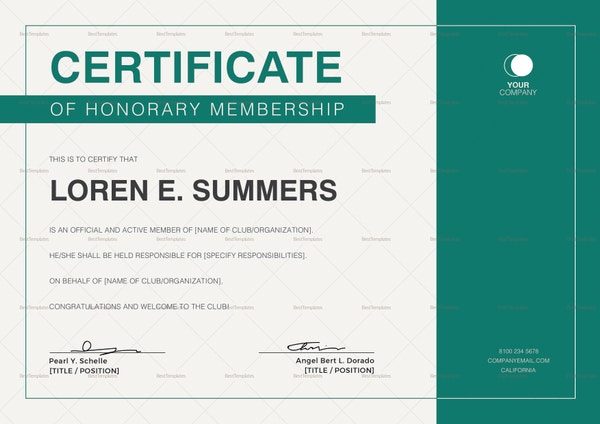 certificate of honorary membership template