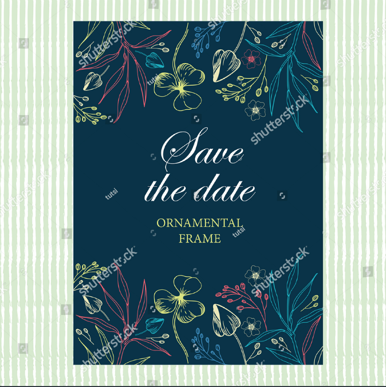 Chalk Art Save the Date Invitation Format