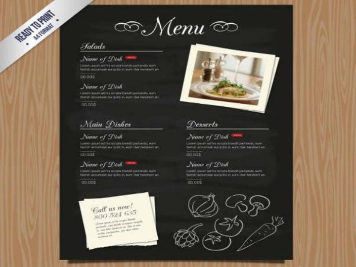 chalkboard style free printable menu template
