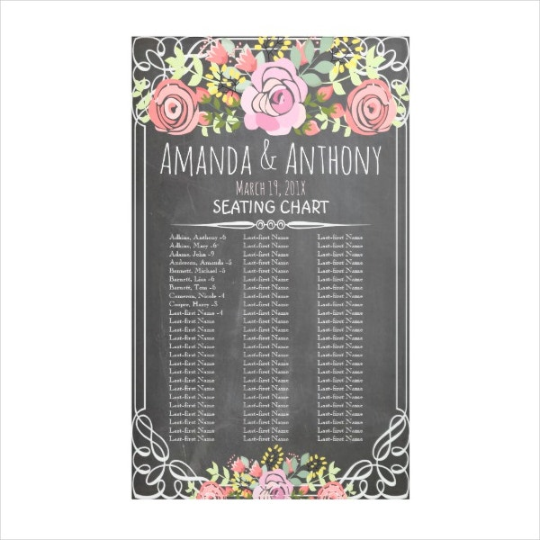 chalkboard style seating chart banner