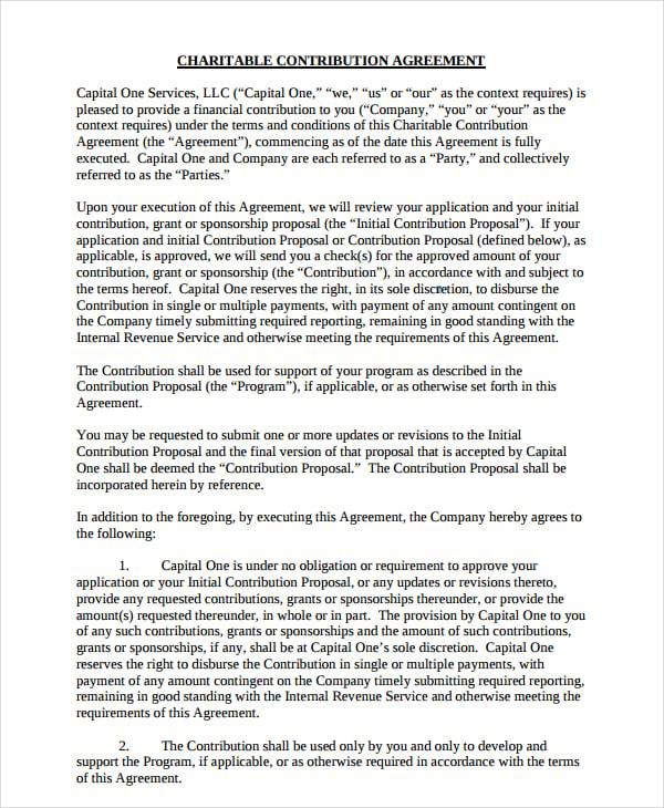 charitable contribution agreement