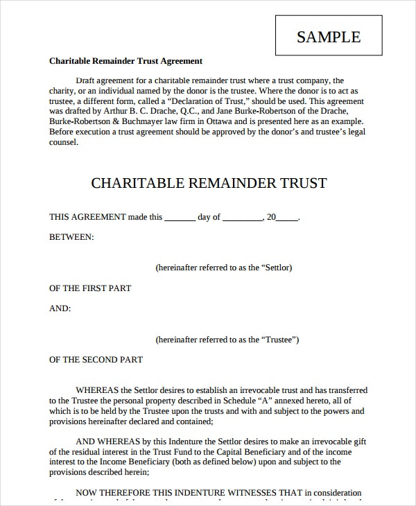 charitable remainder trust agreement