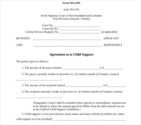 Child Support Agreement Example