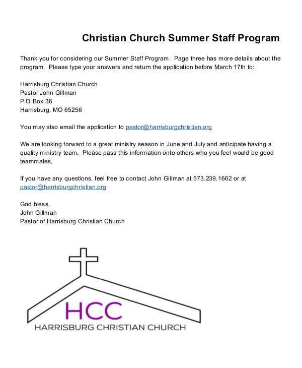 christian church summer staff program